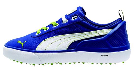 Puma Golf shoes Men 187095 Monolite PL Blue Lime White 5a6fe7b59